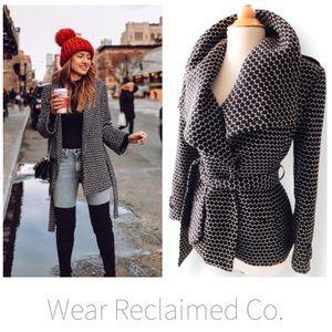 Black & White Belted Dress Coat Jacket - 12